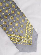 VERSACE authentic light gray yellow gold Medusa scarf pure 100% silk neck tie