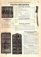 1893 Vintage Marshall Field Catalog Pg ~ Tooth Brushes ~ Cloth & Hat Brushes