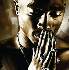 TUPAC 2pac hip hop rap Original US new Artist signed New CANVAS POP ART PAINTING