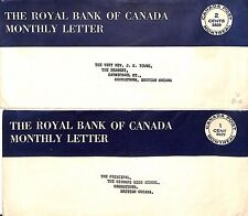 AI213 CANADA PREPAID STATIONERY Royal Bank 2c Monthly Letter Br.Guiana Cover(x2)