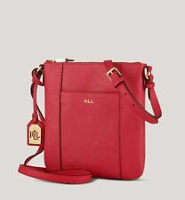 Ralph Lauren Red Leather Messenger Bag Handbag Cross Body