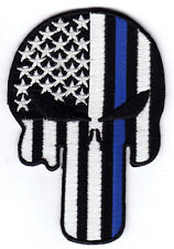 THIN BLUE LINE PUNISHER SKULL - LAW ENFORCEMENT - POLICE - SWAT -  IRON ON PATCH