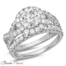 2.40 Carat Round Cut Halo Engagement Ring band set real 14k White Gold Bridal