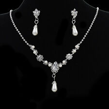 Diamante Jewelry Set Crystal Pearl Chain Necklace Earrings Wedding Party Prom