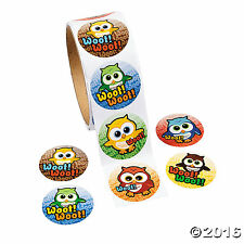 Owl Roll of Stickers 100 Stickers Per Roll