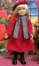 """Fits 18"""" Kidz 'n' Cats Doll ... Red Winter Coat with Wool Scarf ... D712"""