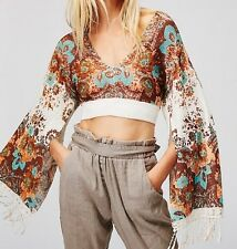 Free People Meet Me At Woodstock Cropped Sweater Size Small