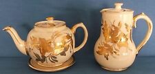 VINTAGE SADLER CREAM GOLD FLORAL TEAPOT & STAND AND WATER JUG MADE IN ENGLAND