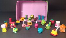 Shopkins lot of 25 rare, common Hat Food Shoes Birdhouse With Carrying Tin