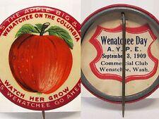 rare 1909 WENATCHEE APPLE AYPE Seattle Alaska Yukon pinback button