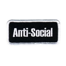 "Name Tag ""Anti-Social"" Patch Shut-Up Stop Talking Punk Apparel Iron-On Applique"