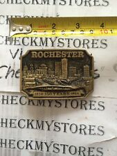 Vintage Columbia Collection Brass Rochester New York 1834-1984 Belt Buckle