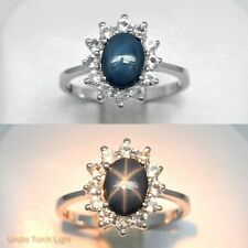 1.30ct Natural 6 Ray Blue Star-Sapphire Ring With White Topaz in 925 Silver