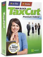 H&R Block TaxCut 2008 Premium Federal + State + 5 free federal e-files included
