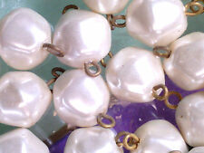 Vtg 50 PUFFY BAROQUE PEARL DROP BEADS WITH FINDINGS #052311t light weight