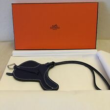 AUTHENTIC HERMES Rodeo Paddock Selle Saddle Bag Charm Blue Indigo