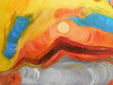 Original Oil Painting on canvas - SIGHT OF SUNRISE FROM A PLANE