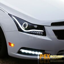 For All 2011-2014 Chevy Cruze Halo Projector Black Headlights W/ LED DRL Bar