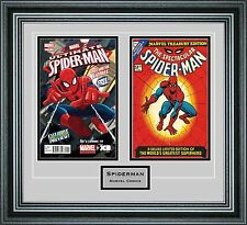 Double Comic Book Frame with Custom Engraving in our Premium Black Moulding