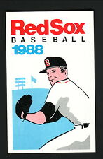 Roger Clemens--1988 Boston Red Sox Schedule--Haverhill Co-Operative Bank