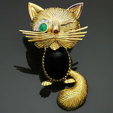 VAN CLEEF & ARPELS Chat Malicieux Diamond Emerald Onyx Winking Cat Brooch 1950s