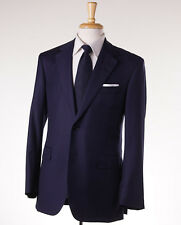 NWT $3895 OXXFORD HIGHEST QUALITY Solid Navy Blue 130s Wool Suit 38 R Flat Front