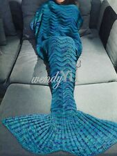 Cozy Mermaid Tail Sofa Blanket Super Soft Hand Xmas Crocheted Knitting Wool Rug