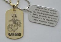 Military Marines - Gold or Silver Tone Metal Tag - Free Custom Engraving