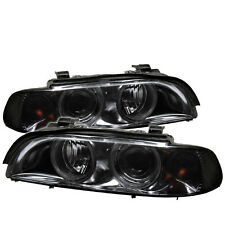 BMW 97-03 E39 Smoked Twin Halo Projector Headlights Lamps 525i 528i 530i 540i M5