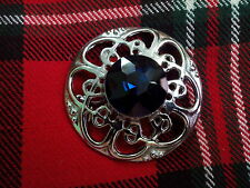 TC Scottish Kilt Fly Plaid Celtic Design Brooch Blue Stone Chrome Finish/Ladies