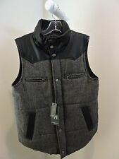 NWT-$160 American Stitch 100% Polyester Black & Gray W/Faux Leather Vest -  Sz-M