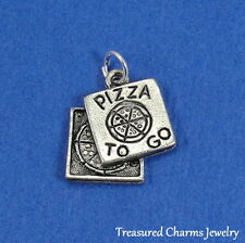 Silver PIZZA BOX Takeout FOOD CHARM PENDANT