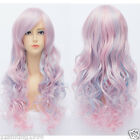 new fashion lolita wig full curly wave long hair wigs cosplay pink blue mix wig