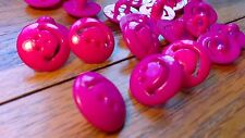 50 Happy Smile Bright Pink  Buttons 15mm  Scrapbook Cards Knitware New Baby