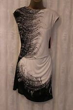 Karen Millen Customized Multi Print Ruch Slinky Drape Black Party T Dress 12 40