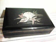 Vintage Otagiri Black Lacquerware Music/Jewelry Box -- Made in Japan -- Sealife
