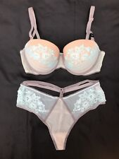 Victoria's Secret Set~Dream Angels Balconet Bra~High Waist Thong Panties~34D/M
