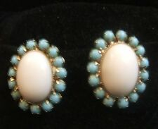 Vintage Vogue White Milk And Turquoise Glass and Silver Tone Clip On Earrings