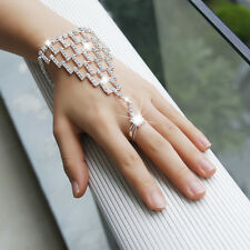 Bridal Crystal Rhinestone Bracelet Bangle Chain Net With Ring Sets Silver