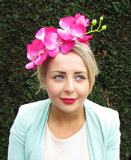 Large Hot Pink Orchid Flower Fascinator Statement Headpiece Races Headband 1598