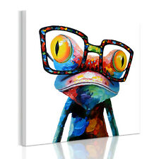 HD READY TO HANG Happy Sunglasses Frog Home Wall Art Canvas Prints Framed