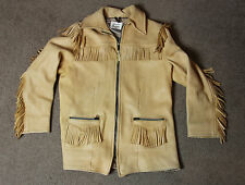 UBER SCOUT Buckskin Deerhide Fringe Leather Jacket Womens Size S Small USA