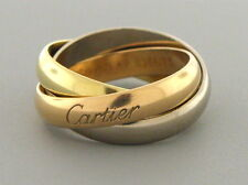 CARTIER 18K TRI-COLOR YELLOW WHITE ROSE GOLD RING SIZE 4.5 TRINITY