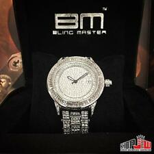 Mens BM Bling Master Royale Hip Hop Iced Out Watch White Simulated Diamond Style