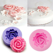 Silicone 3D Rose Flower Fondant Cake Chocolate Sugarcraft Mold Cutter Tools DIY