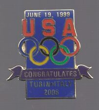 2006 USA Congratulates Turin Olympic Pin Torino June 1999
