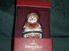 "Villeroy & Boch 4"" Snowman Treats Porcelain Hinged Trinket Box NIB"