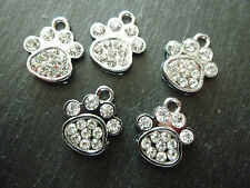 BEAUTIFUL SILVER RHINESTONE/DIAMANTE/CRYSTAL DOG/CAT PAW CHARMS x 5, BNWOT
