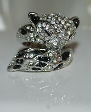 Silver Fox Clear and Black Crystals Finger Ring Elastic
