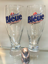 2X BEAUTIFUL QUEBEC FRENCH LABATTS BLEUE / BLUE OLD STYLE PILSNER BEER GLASS